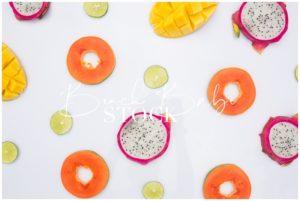 Tropical Fruit Flatlay on White