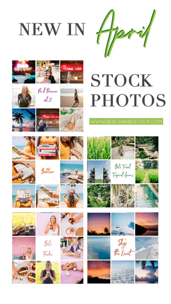 New Stock Photo bundles on Beach Babe Stock April 2020: Pink Dreamer 2, Booklover, Bali Travel Tropical Greens, Bali Foodie, and Sky's the Limit.